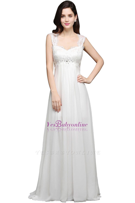 Long Ivory Elegant Applique In-Stock Strap  Evening Dresses
