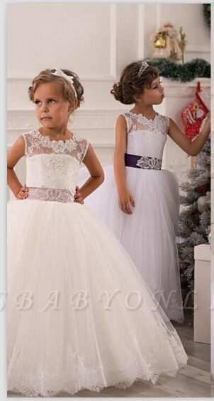 Lovely Illusion Sleeveless Tulle Flower Girl Dress With Lace Appliques