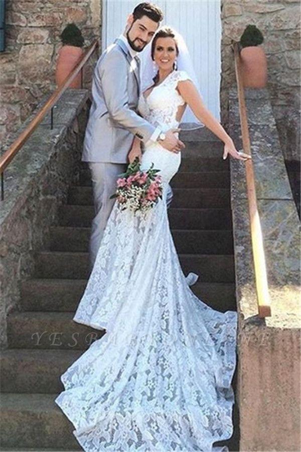 Open-Back Sleeveless V-Neck Glamorous Mermaid Lace Wedding Dress