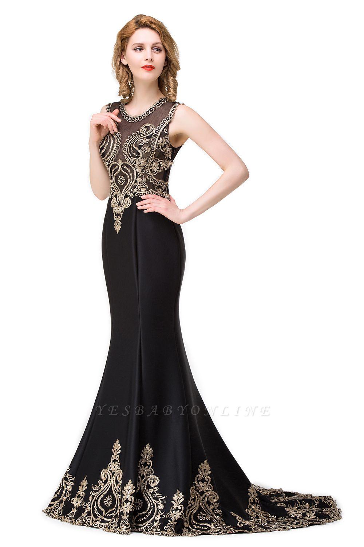 Appliques Scoop Mermaid Black Sleeveless New Prom Dress