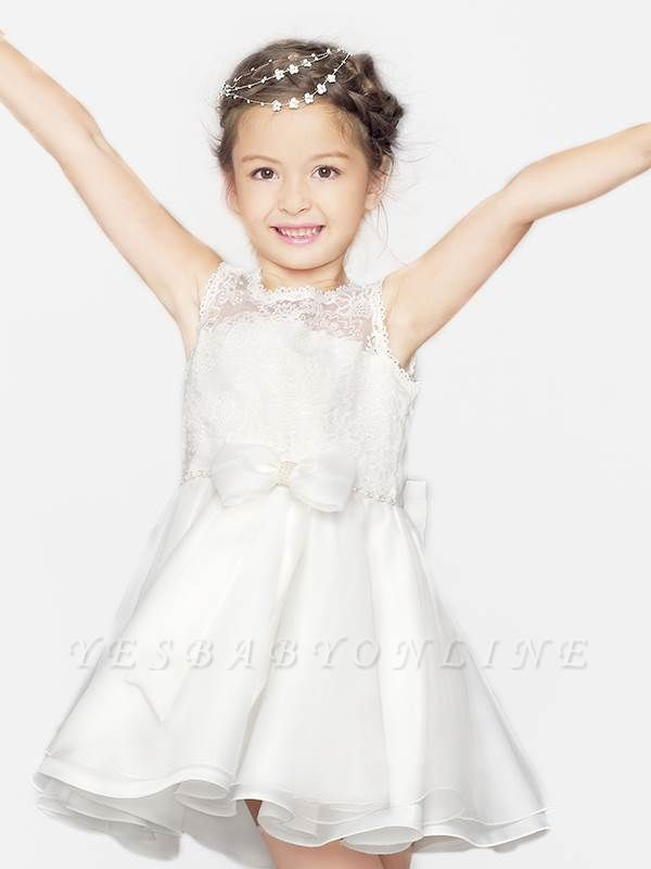 Cute A-Line Organza Satin Lace Scoop Short Flower Girl Dress with Bowknot