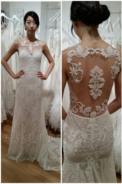 Sweep Train Lace Appliques Sleeveless Glamorous Sexy Mermaid Wedding Dress