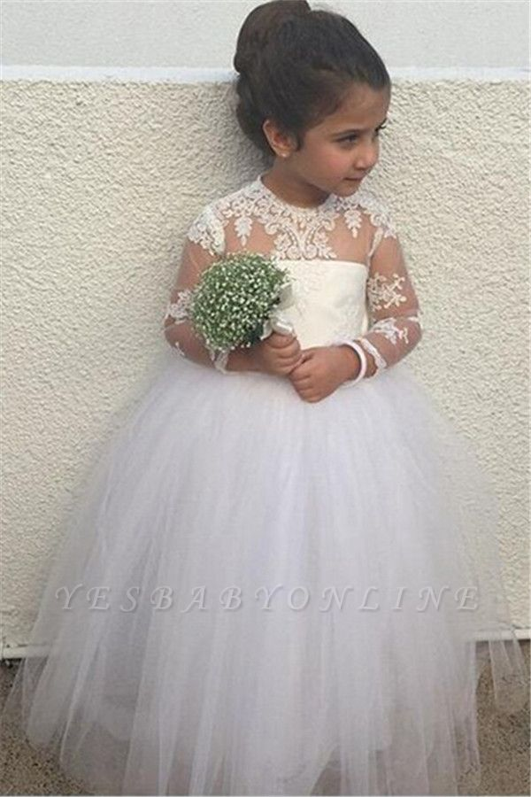 Cute Long Sleeve Lace Flower Girl Dresses | Sweet Tulle Ball Gown Little Princess Gown BA6961