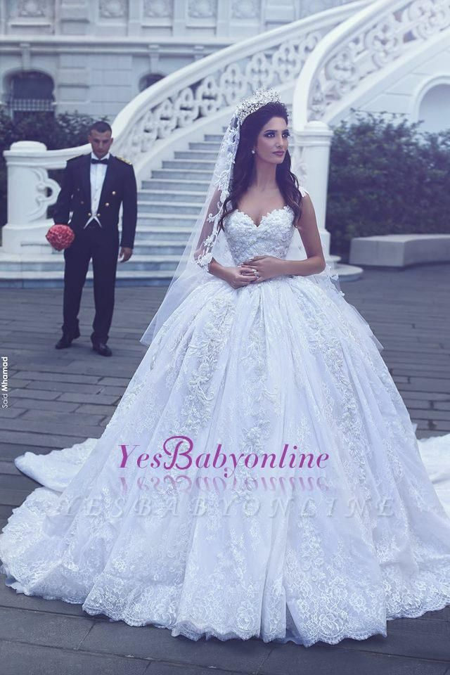 Ball-Gown Sweetheart Sleevesless Lace Flowers Glamorous Wedding Dress