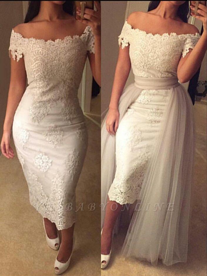 Detachable-Train Modest Lace Tea-length Off-the-shoulder Prom Dress