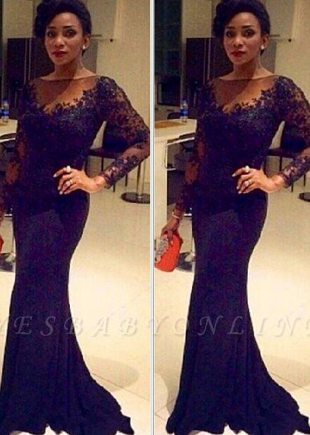 Lace Black Long-Sleeve Sheer Mermaid Elegant Evening Gown