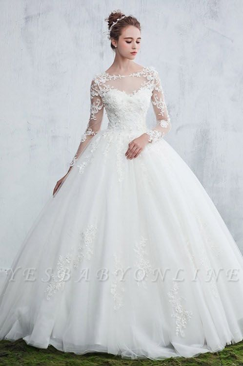 Jewel Sexy Lace Long Sleeves White Ball Gown Wedding Dresses