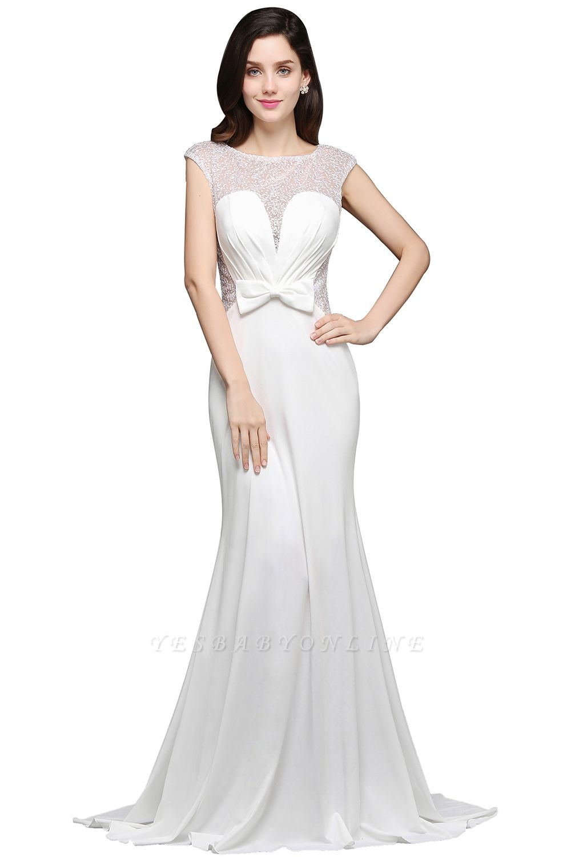 Mermaid Long Sleeve Cap Ivory Chic Sheer Jewel Evening Dresses