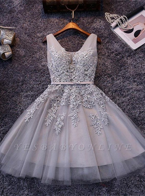 Elegant Silver Homecoming Dresses Lace Beaded  Puffy Hoco Dress