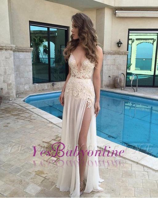 2019 Deep-V-Neck Prom Dresses Side Split Sheer Lace Appliques  Summer Party Dresses