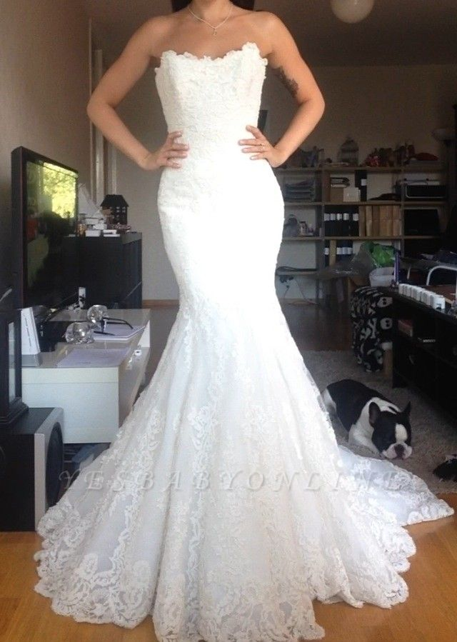 Simple Strapless lace Buttons Back Mermaid Wedding Dresses