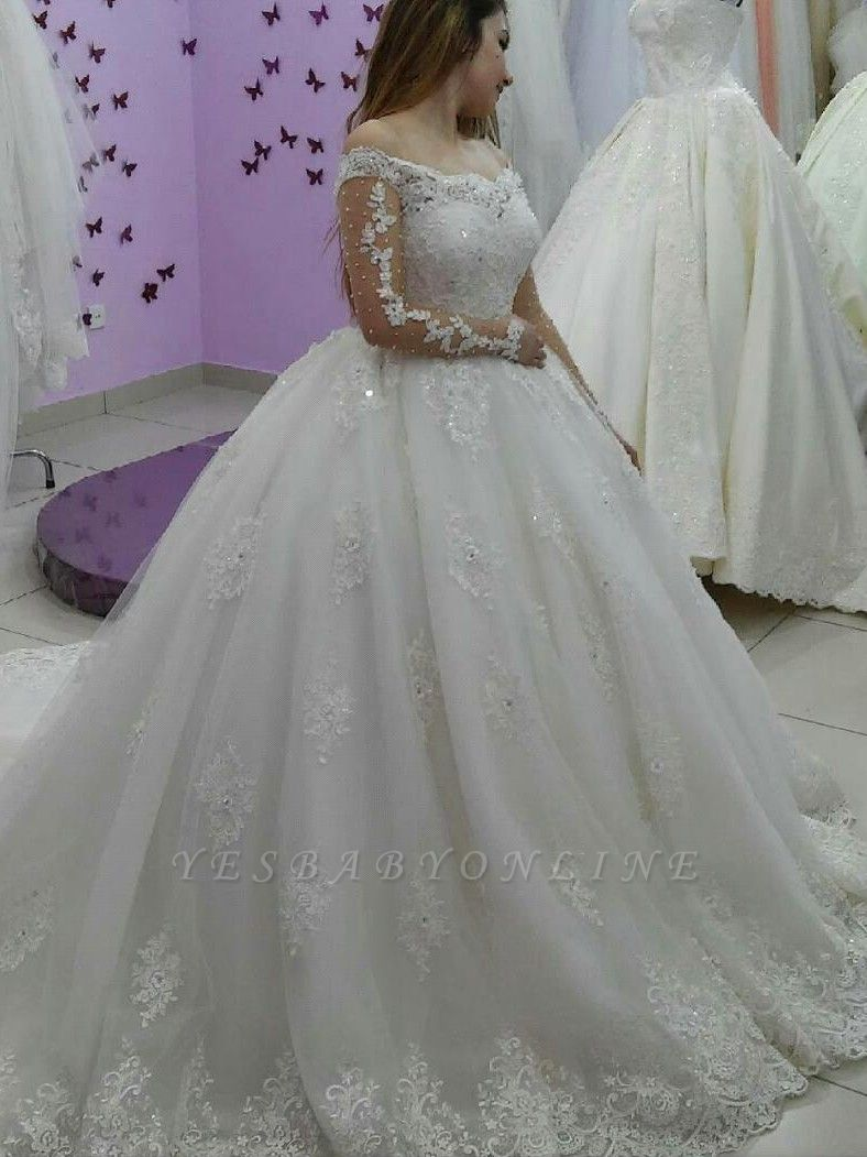 Lace-Applique Ball-Gown Long Sleevess Tulle Off-The-Shoulder Pearls Wedding Dresses
