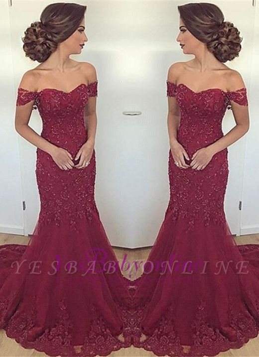 Burgundy Mermaid Long Lace Glamorous Appliques Off-the-Shoulder Evening Dress