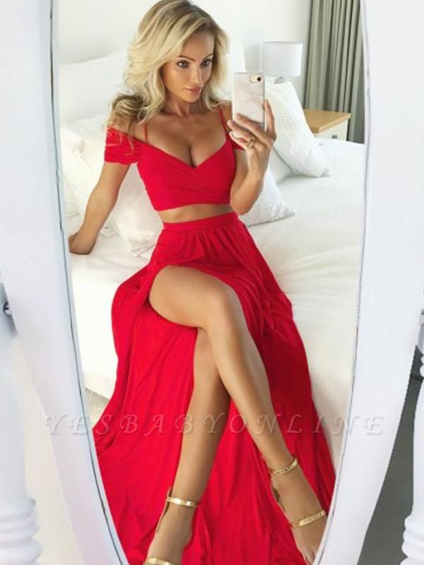 Sexy Two Pieces Red Evening Dresses | Straps Side Slit Prom Dresses