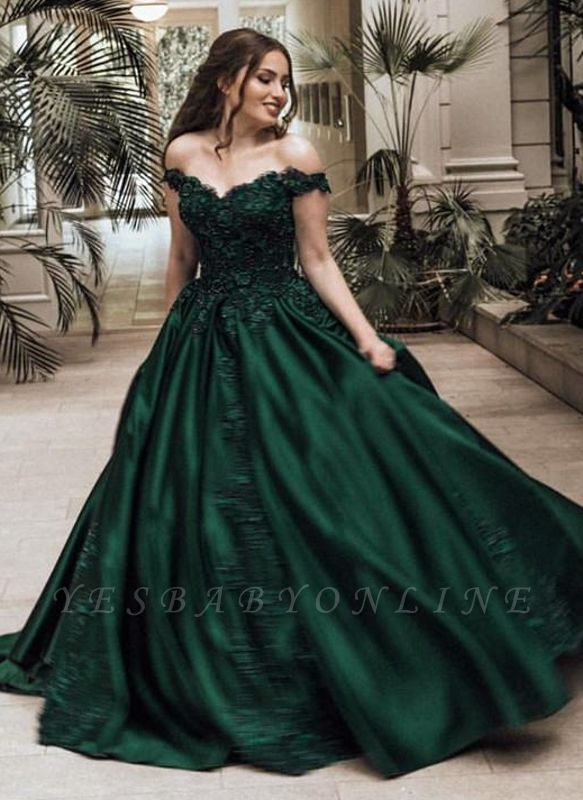 Elegant Dark Green Puffy Prom Dresses | Off-The-Shoulder Ball Gown Quinceanera Dresses
