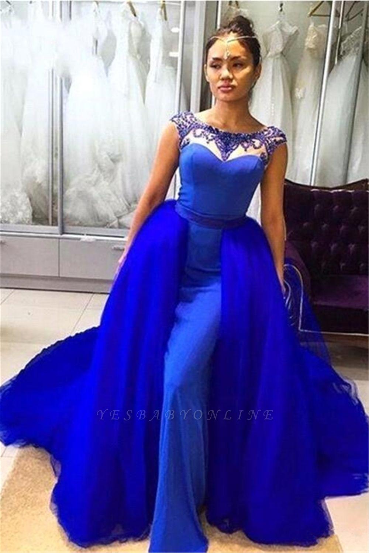Royal Blue Sleeveless Prom Dresses | Long Beading Mermaid Evening Gowns