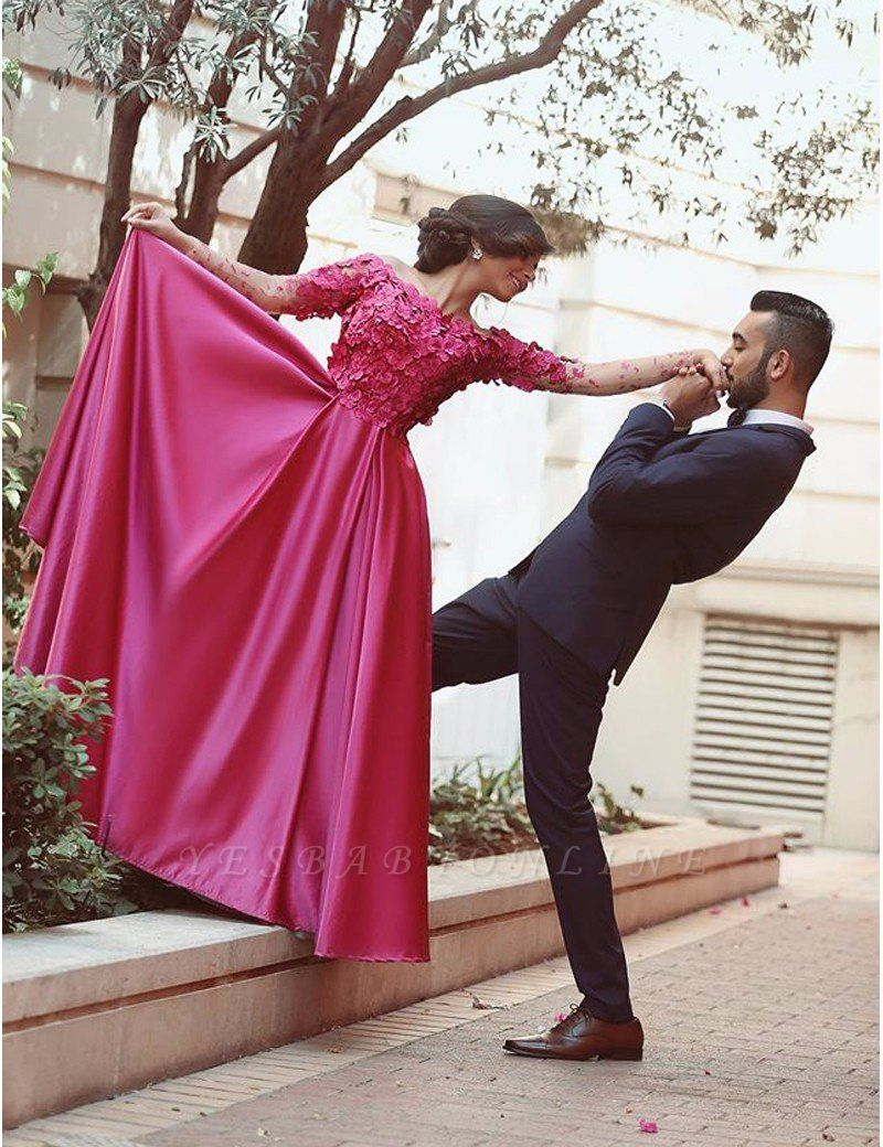 Floral Long-Sleeves A-Line Luxury Off-The-Shoulder Prom Dresses