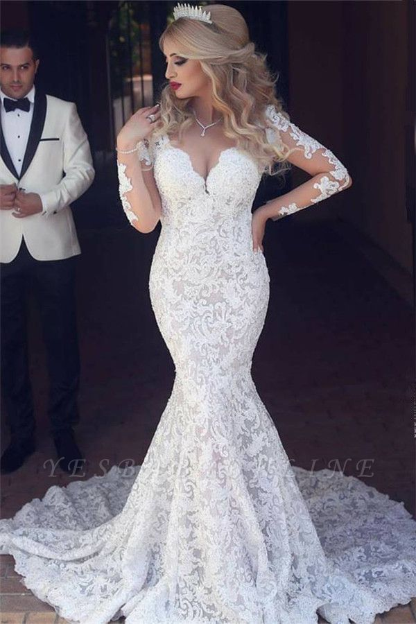 Long Sleeves Open Back V-neck Sexy Mermaid Lace Wedding Dress