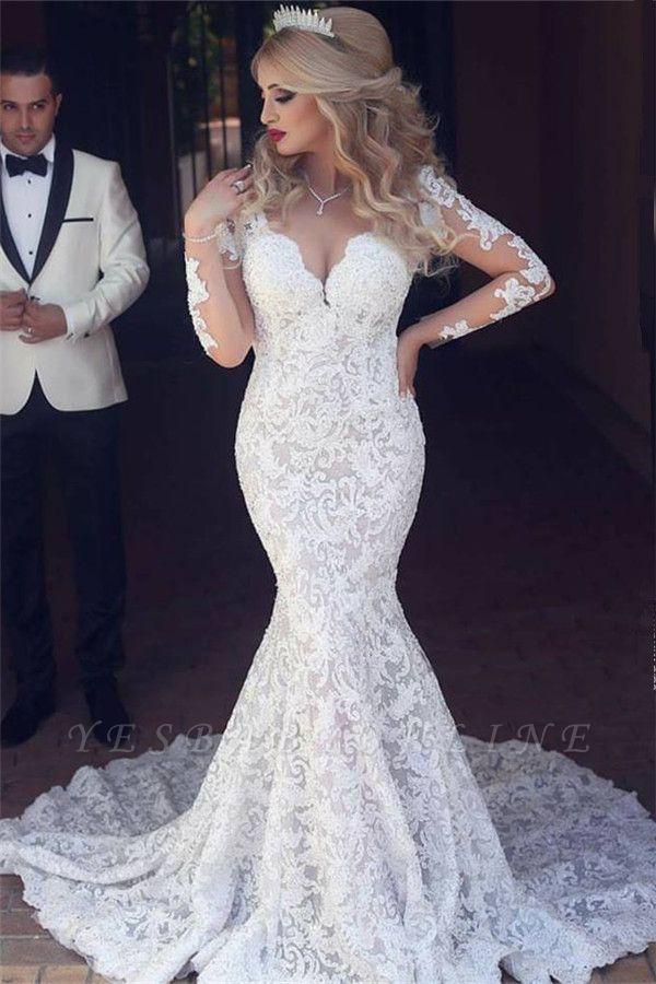 Long Sleeves Open Back V-neck Sexy Mermaid Lace Wedding Dress