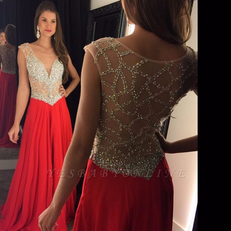 Elegant Long Beading Crystal V-Neck  Natural Prom Dresses