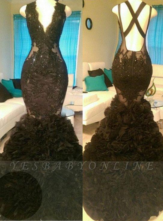 Glamorous Black Mermaid Appliques V-Neck Open-Back Tulle Prom Dress