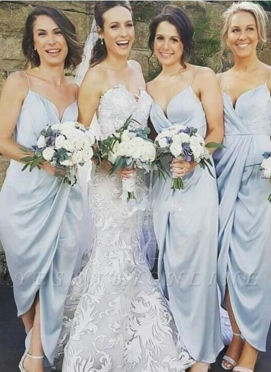 Spaghettis-Straps Sky-Blue Ruffles Sheath Slit Bridesmaid Dresses