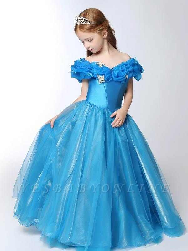 Cute A-Line Tulle Off-the-Shoulder Floor-Length Flower Girl Dress with Butterflies