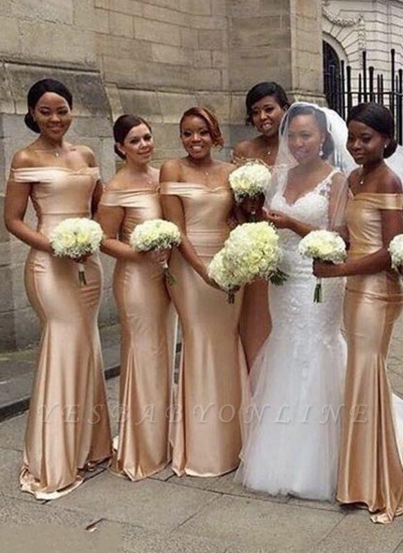 Elegant Mermaid Bridesmaid Dresses | Off-The-Shoulder Long Wedding Party Dresses