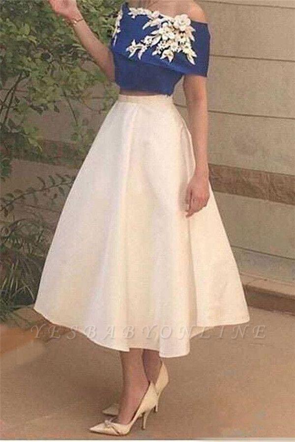 Off-The-Shoulder Elegant Appliques Tea-Length Two-Pieces Prom Dress