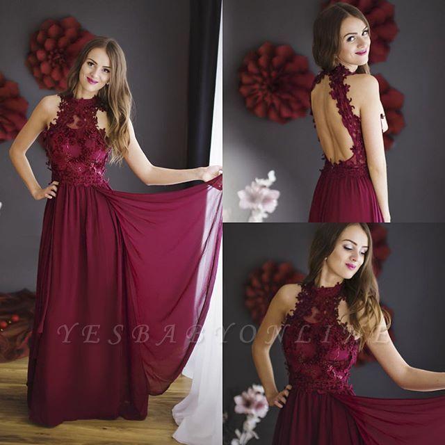 Floor-length Halter Chiffon Sleeveless Lace Sheath Burgundy Prom Dress