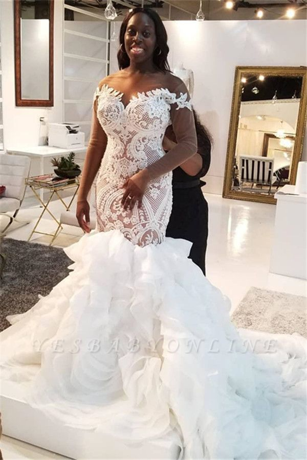 Jewel Lace Mermaid Wedding Dresses with Tiered Train and Long Sleeves