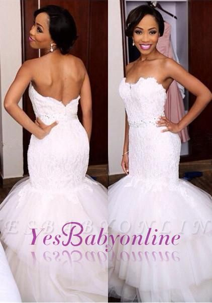 Newest Wedding Dress.Appliques Mermaid Crystal Tiered Sweetheart Tulle Newest Wedding Dress