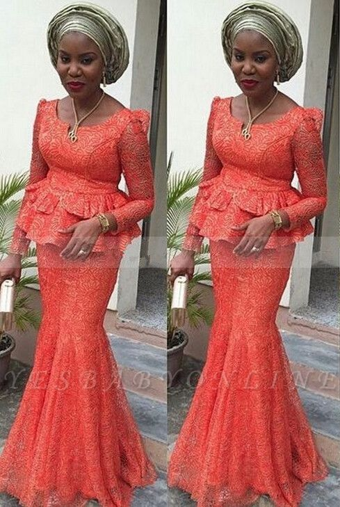 Lace Nigerian Long-Sleeves Floor-length Mermaid Evening Dress