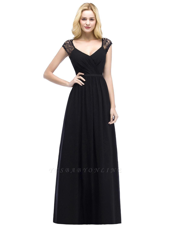 A-Line Chiffon Bridesmaid Dresses | Scoop Cap Sleeves Wedding Party Dress