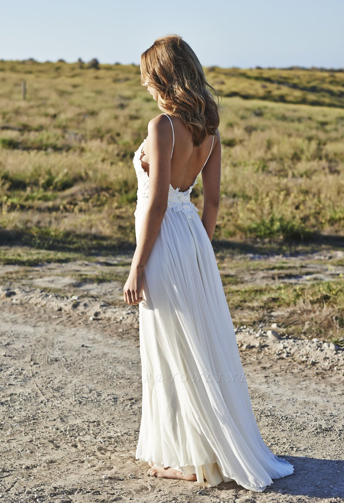 Simple Style Spaghetti Strap V Neck Lace A Line Summer Beach Wedding Dresses