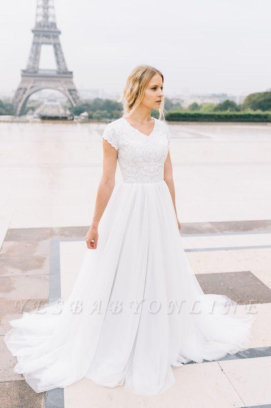 White A-line Cap-Sleeve V-Neck Lace Romantic Wedding Dresses