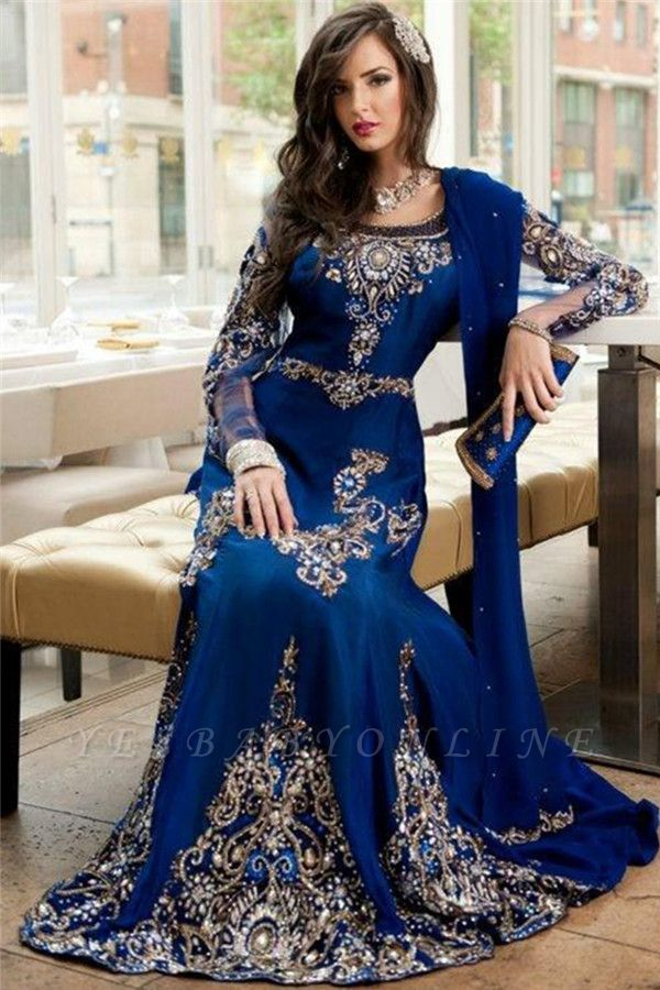 Arabic Long Sleeves Evening Dresses Royal Blue Islamic Luxurious Crystals Formal Dresses