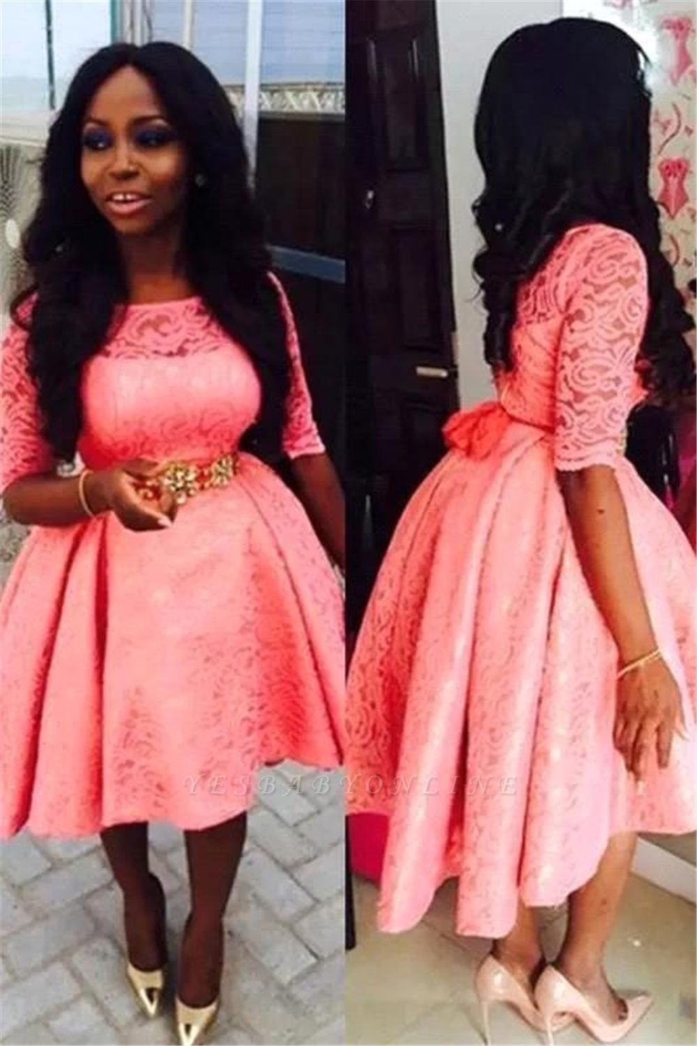 Lace Appliques A-line Prom Dresses   Short Pink Half Sleeves Evening Gowns