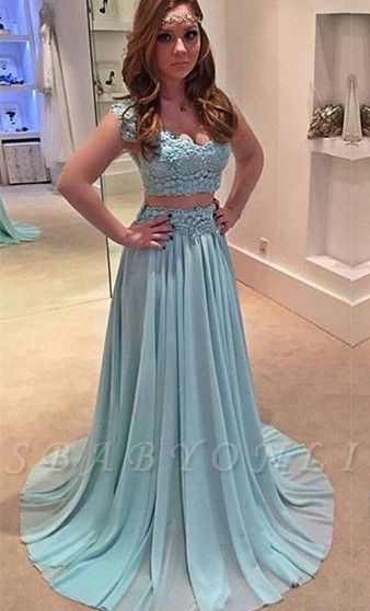 Lace Sweep-Train  Two-Piece Newest A-line Prom Dress