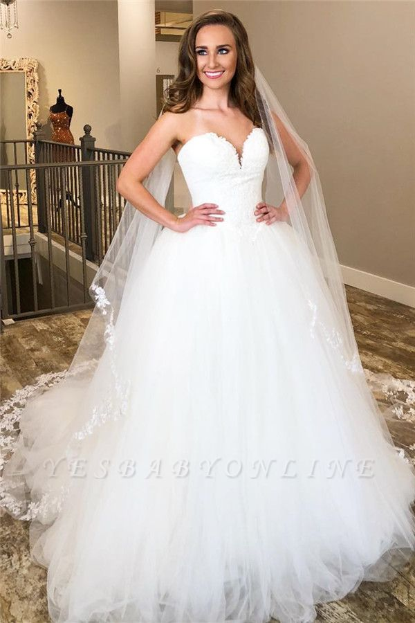Sweetheart Applique Tulle A Line Wedding Dresses | Backless Wedding Gown