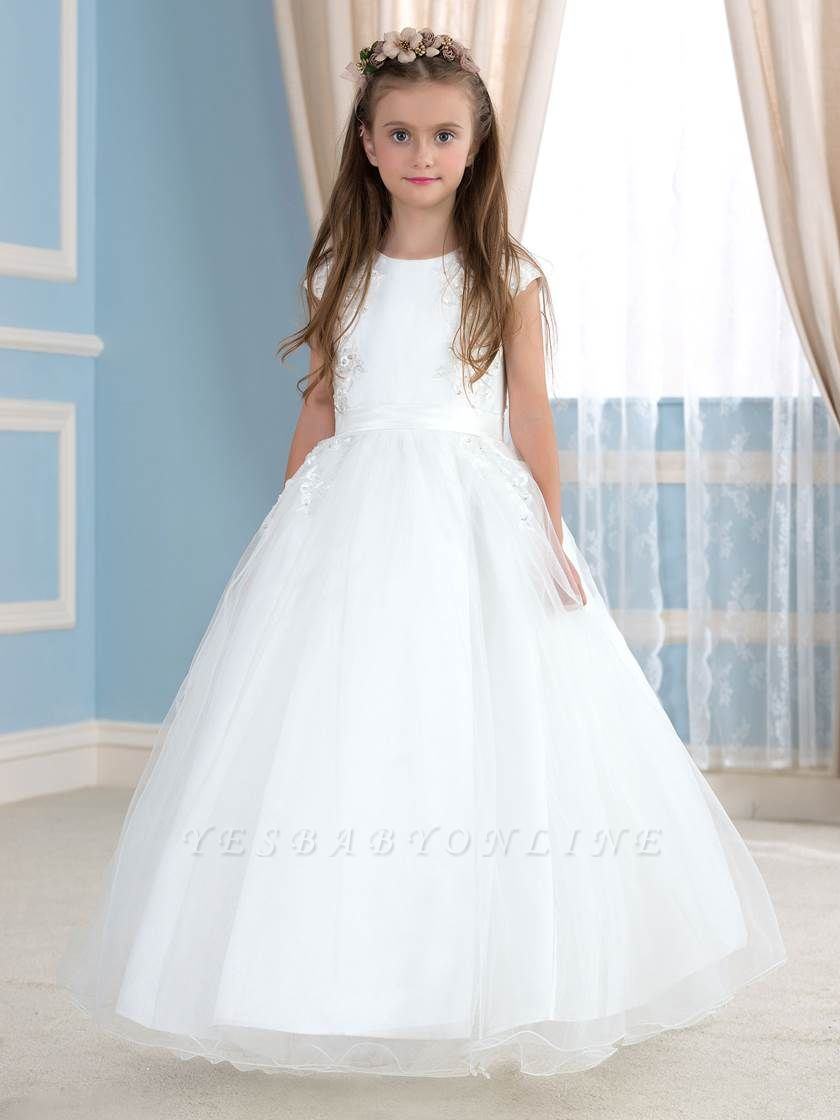 Cute A-Line Tulle Lace Jewel Sleeveless Flower Girl Dress with Beading