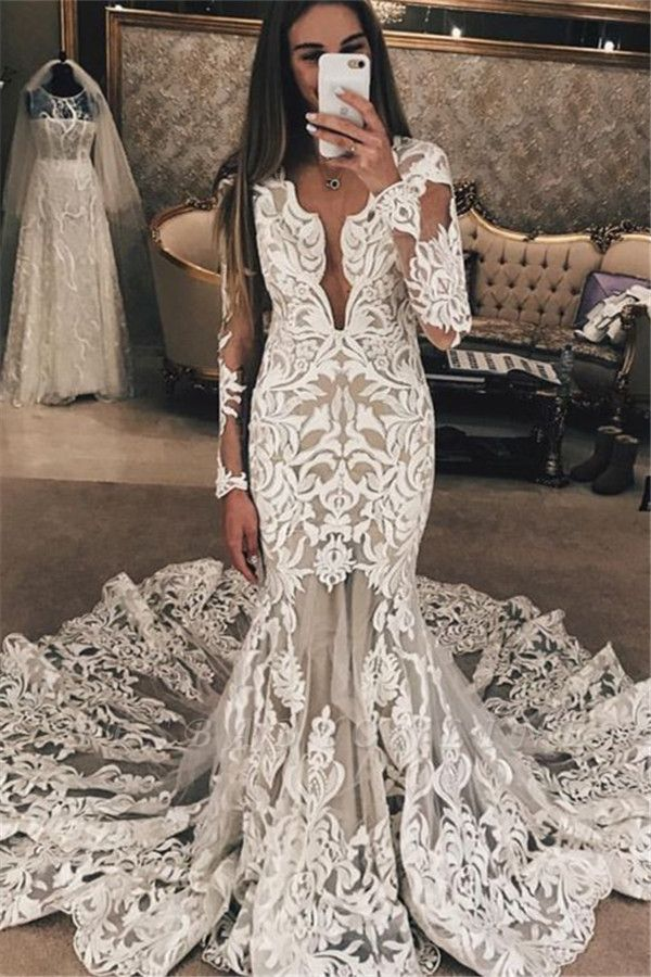 Long Sleeves Lace Wedding Dresses | Sexy Mermaid Lace Long Train Bridal Dress