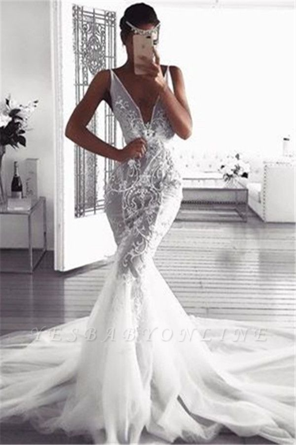 Glamorous Sexy Mermaid Lace Wedding Dresses | Sleeveless Tulle Deep v-Neck Appliques Bridal Gowns