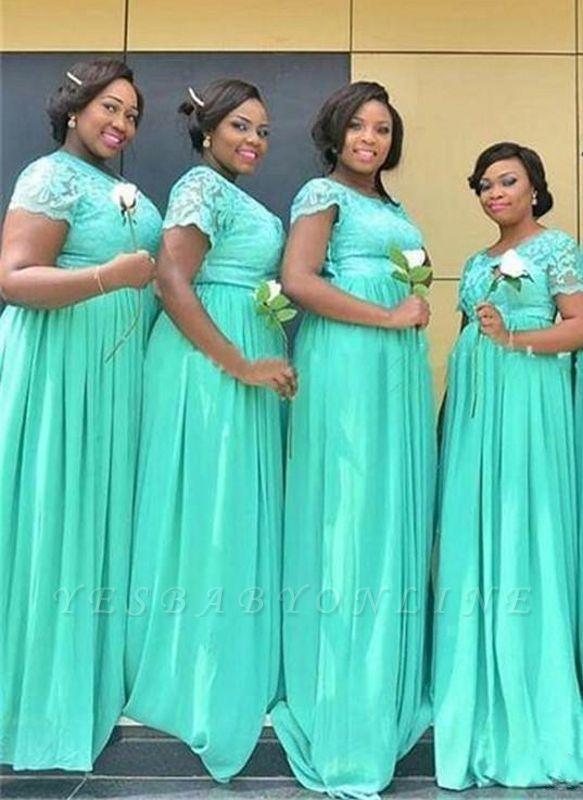 A-Line Mint Green Chiffon Bridesmaid Dresses | Scoop Short Sleeves Lace Wedding Party Dresses