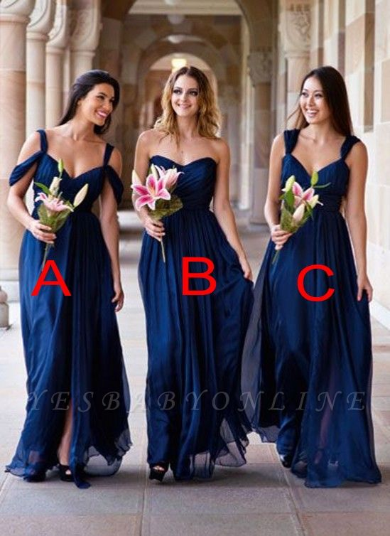 Long A-line Chiffon Dark-Navy Summer Elegant Bridesmaid Dresses