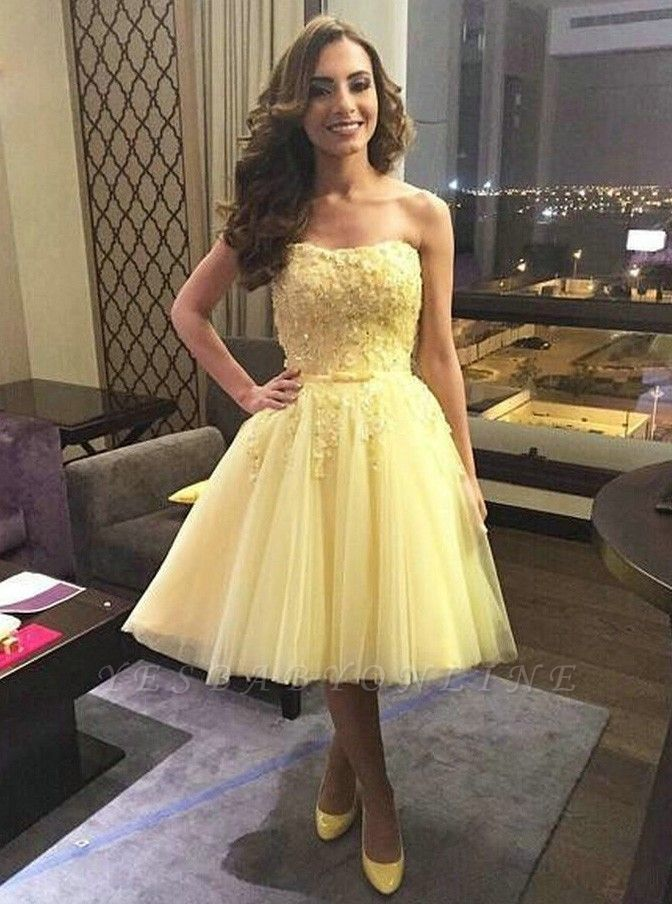 Chic A-Line Yellow Homecoming Dresses | Simple Sleeveless Cocktail Dresses