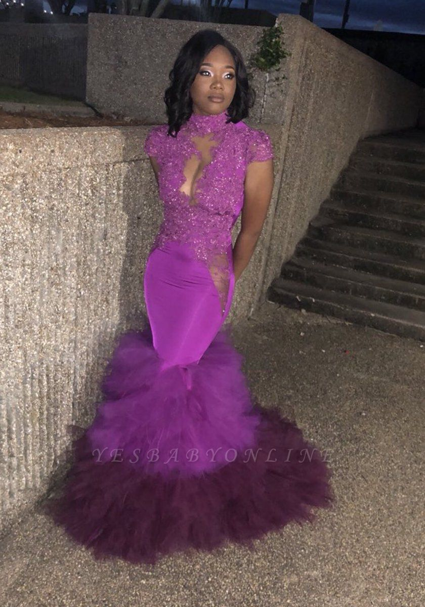 Short Sleeves Appliques Prom Dresses | Purple Mermaid HIgh Neck Evening Gowns