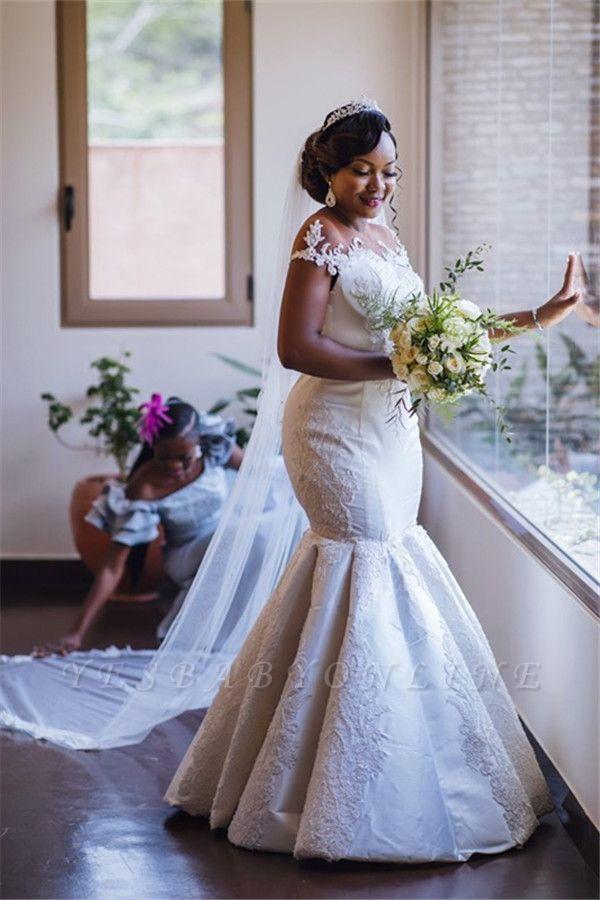 Charming Jewel Cap Sleeve Applique Beaded Fitted Mermaid Wedding Dresses