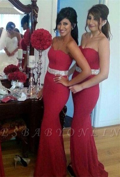 Gorgeous Crystal Mermaid Sweetheart Red Bridesmaid Dress