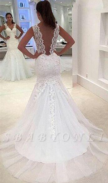 Straps Sleeveless Sweep Train Lace Appliques Sexy Mermaid Wedding Dress